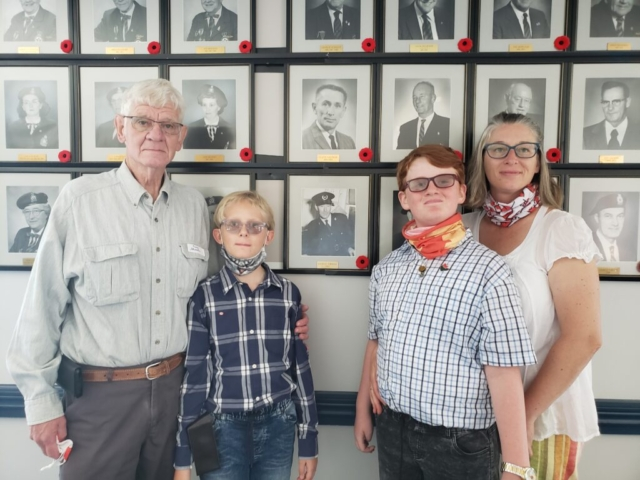 Descendants of George Thomas, our first Branch President. L to R Craig Thomas (son), Craig and Liam Thomas (great-grand children) and Agelica Thomas (grand daughter).